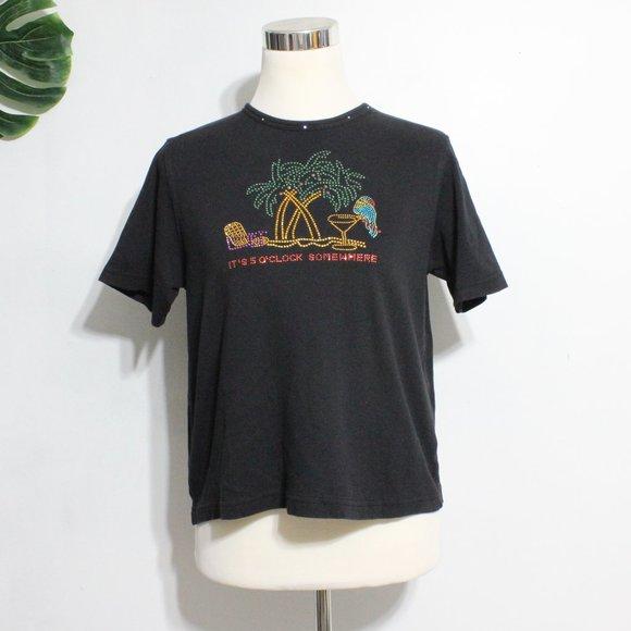 Las O Las Black Graphic tee tShirt Vintage Med